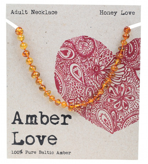 Amber Love Adult's Necklace 100% Baltic Amber Honey Love 46Cm