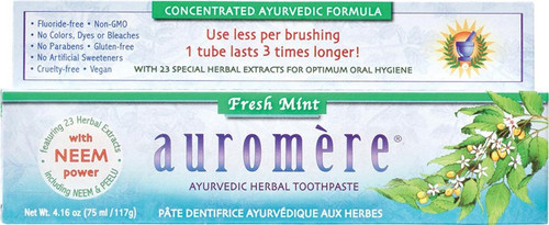 Auromere Toothpaste Ayurvedic Fresh Mint Fluoride Free 117g