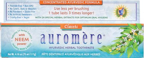 Auromere Toothpaste Ayurvedic Classic (Licorice) Fluoride Free 117g
