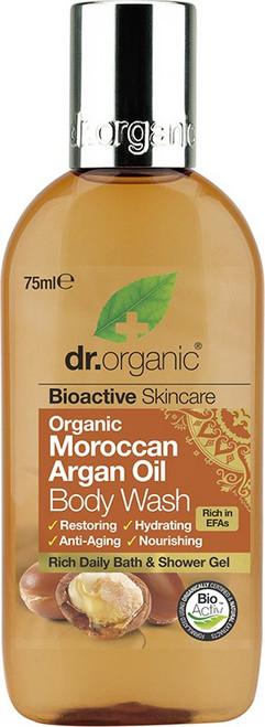 Dr Organic Body Wash (Mini) Organic Moroccan Argan Oil 75ml