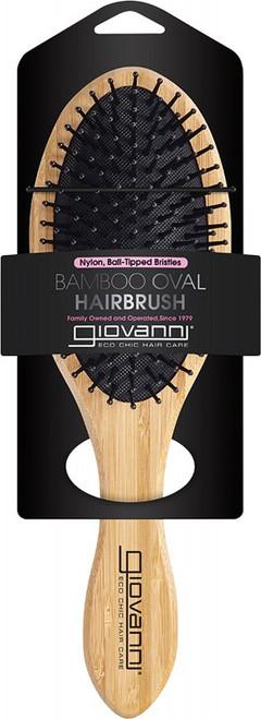 Giovanni Bamboo Hair Brush Oval Nylon, Ball-Tipped Bristles