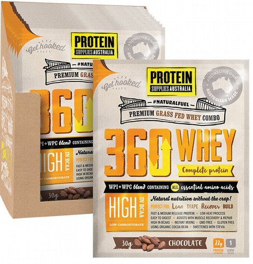 Protein Supplies Australia 360Whey (WPI+WPC Combo) Chocolate 12x30g