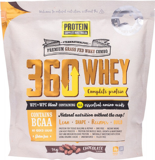 Protein Supplies Australia 360Whey (Wpi+Wpc Combo) Chocolate 1kg