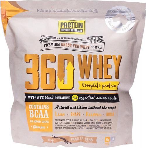 Protein Supplies Australia 360Whey (Wpi+Wpc Combo) Vanilla Bean 1kg