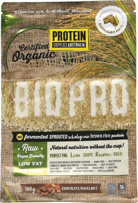 Protein Supplies Australia Biopro (Sprouted Brown Rice) Chocolate & Hazelnut 500g
