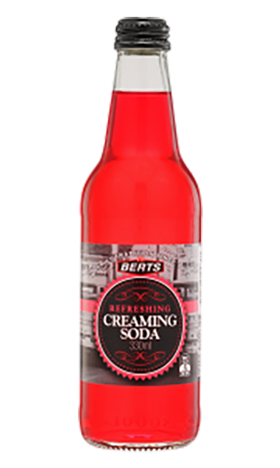 Berts Softdrinks Creaming Soda Glass Bottles 330ml x 24