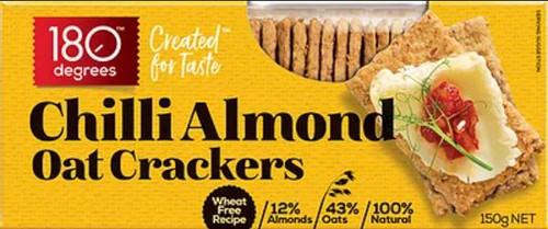 180 Degrees Chilli Almond Oat Crackers 150g x 12