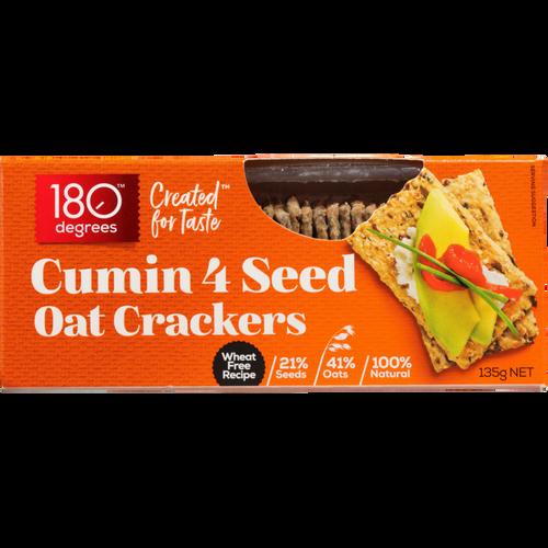 180 Degrees 4 Seed Oat Crackers Cumin 135g x 12