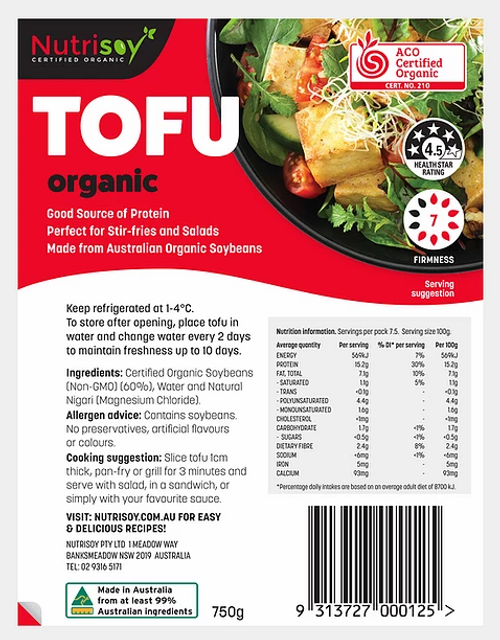 Nutrisoy Australian Organic Soybeans (Non-GMO)Organic Tofu – Big, 750g