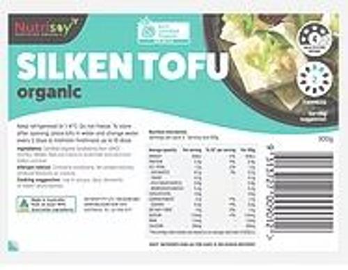 Nutrisoy Australian Organic Soybeans (Non-GMO)Organic Silken Tofu, 300g