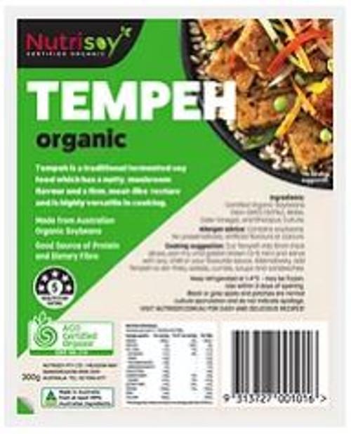 Nutrisoy Australian Organic Soybeans (Non-GMO Organic Tempeh – Plain, 300g