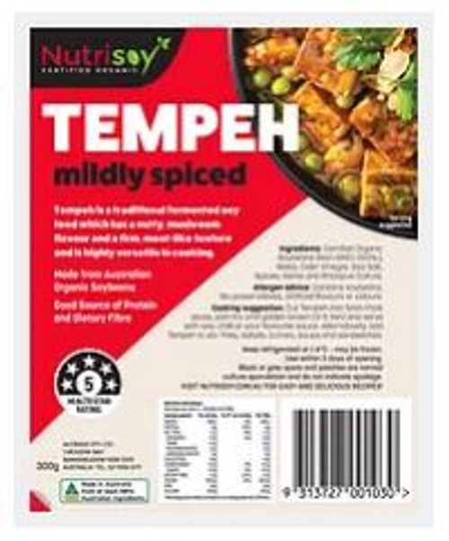 Nutrisoy Australian Organic Soybeans (Non-GMO)Tempeh Mildly Spiced, 300g