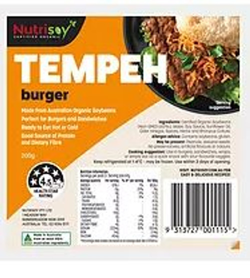 Nutrisoy Australian Organic Soybeans (Non-GMO)Tempeh Burger 3, 200g