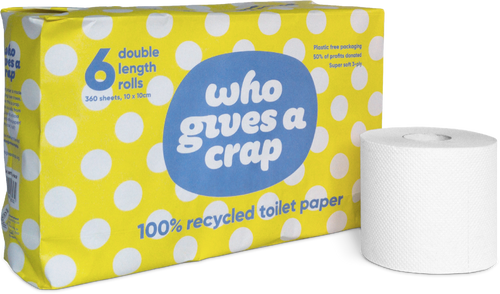 Who Gives A Crap Toilet Paper 3-Ply 6-Roll Packs x 8 | 100% Recycled Super Soft