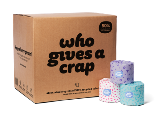 Who Gives A Crap Toilet Paper 3-Ply Individually Wrapped Rolls x 48 | 100% Recycled Super Soft