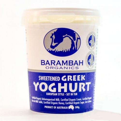 Barambah Organics Sweetened Greek Yoghurt 500g