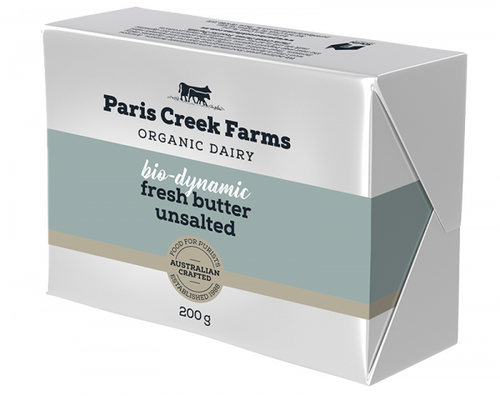 Paris Creek Farms Fully Biodynamic Unsalted Butter 200g x 12 (Pre-Order Only)