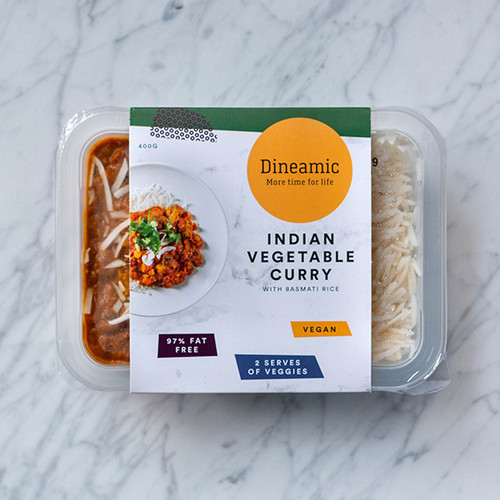Dineamic Meal Tray Indian Vegetable Curry w/ Brown Rice 400g x 5