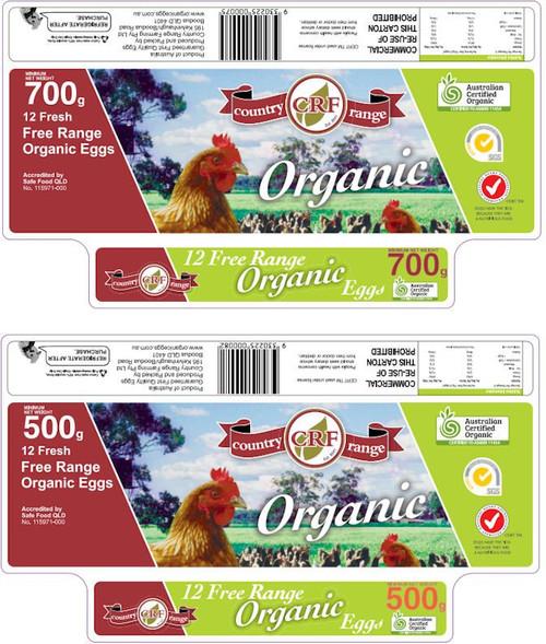 Country Range Organic Eggs 700g Box (15 x dozens)