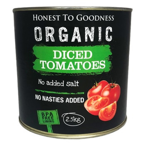 Honest to Goodness Organic Diced Tomatoes 2.5Kg - BPA Free x 6 (Pre-Order Item)