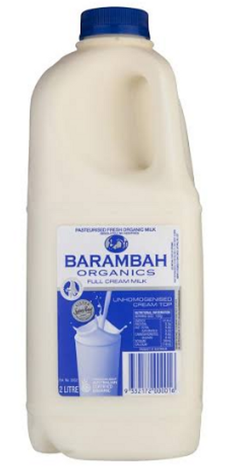 Barambah Organics Full Cream Milk 2L x 6 (Pre-Order Only)