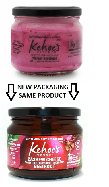 Kehoe's Kitchen Organic Cultured Cashew Cheese Beetroot 250g x 8