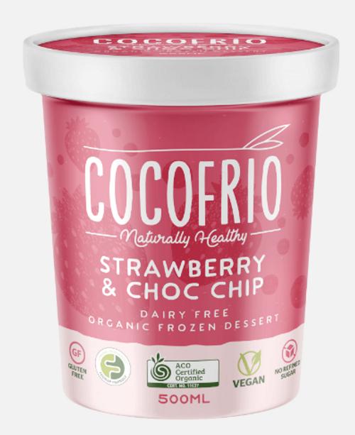 Cocofrio Ice Cream Strawberry Choc Pop Coconut 500ml x 6