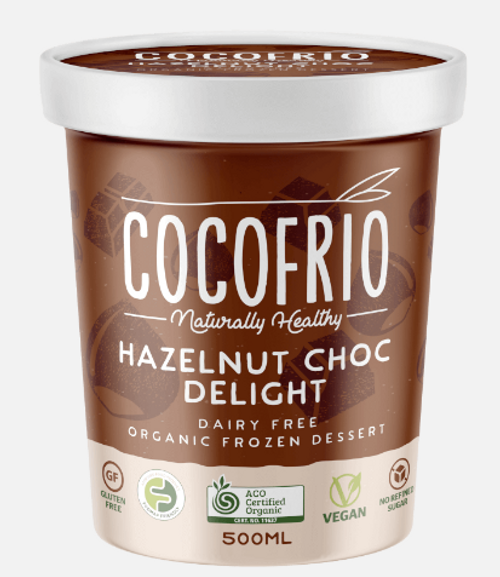 Cocofrio Ice Cream Hazelnut Choc Delight Coconut 500ml x 6