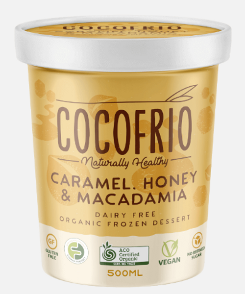 Cocofrio Ice Cream Caramel Honey Macadamia Coconut 500ml x 12