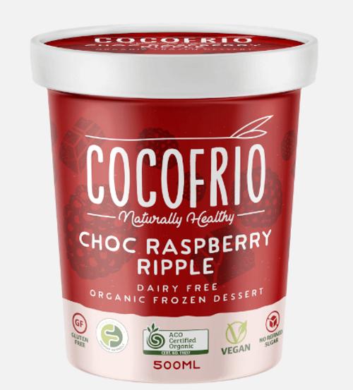 Cocofrio Ice Cream Chocolate Raspberry Ripple Coconut 500ml x 6