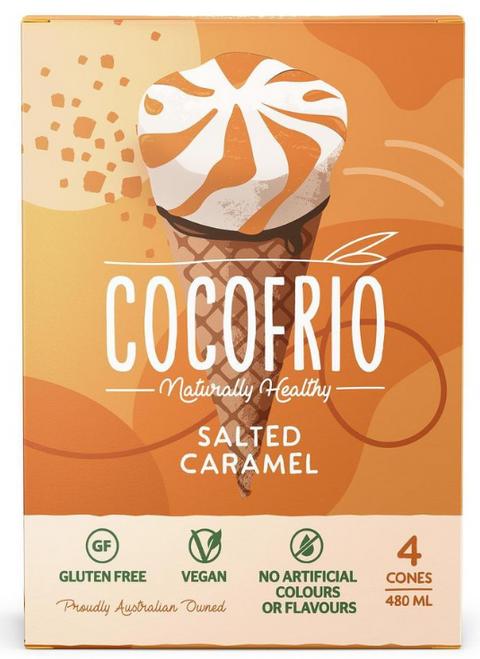 Cocofrio Salted Caramel Gluten Free Cones 480ml 4-Pack x 6/Ctns