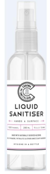 Corowa Distilling Co Liquid Sanitiser 280ml Spray Bottle