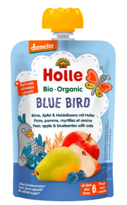 Holle Blue Bird Pear, Apple & Blueberries with Oats 100g x 12 Pouches