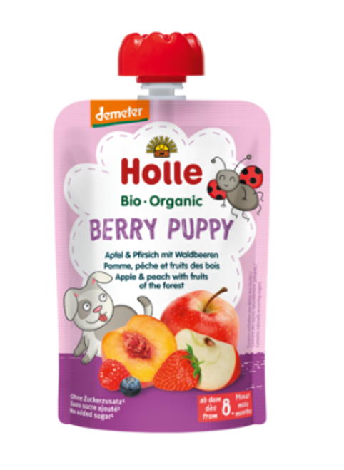 Holle Berry Puppy Apple & Peach with Fruits of the Forest 100g x 12 Pouches