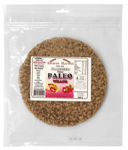 Ancient Harvest Paleo Flaxseed Wraps 200g (4 Wraps) x 4 Packets