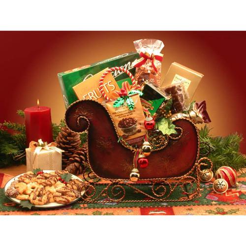 Season's Greetings Holiday Sleigh   Christmas Gift Baskets