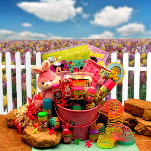 Little Pinkie Bunnies Easter Fun Pail   Easter Gift Baskets