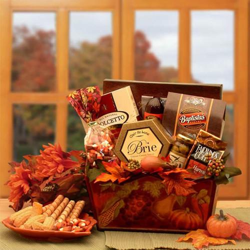 A Gourmet Fall Harvest Fall Gift Basket | Fall Gift Baskets
