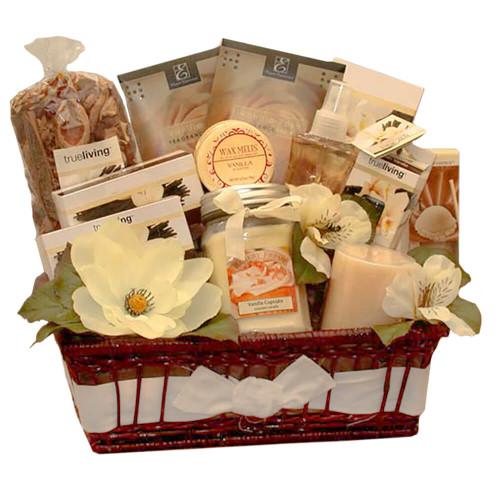 Vanilla Delights Candle Gift Basket   Spa Gift Baskets