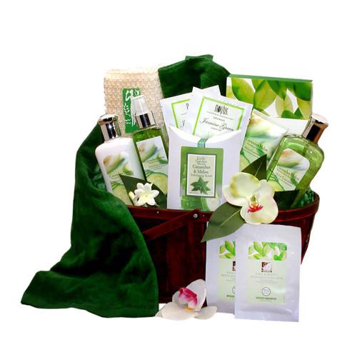 Revitalizing Cucumber & Melon Calming Spa Bath & Body Gift Basket | Spa Gift Baskets