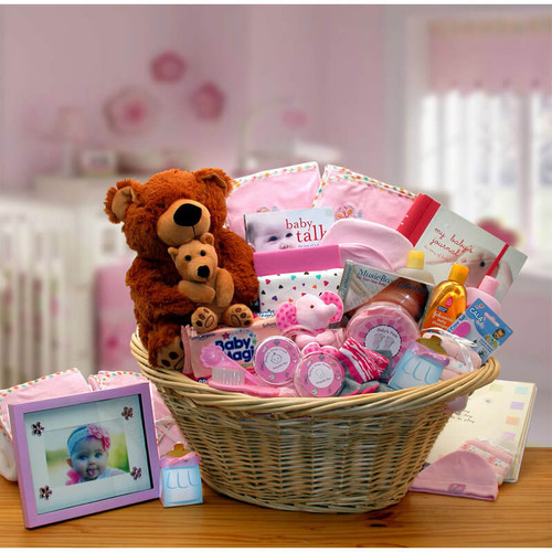 Welcome Home Baby Girl Pink Deluxe Gift Basket | Baby Gift Baskets