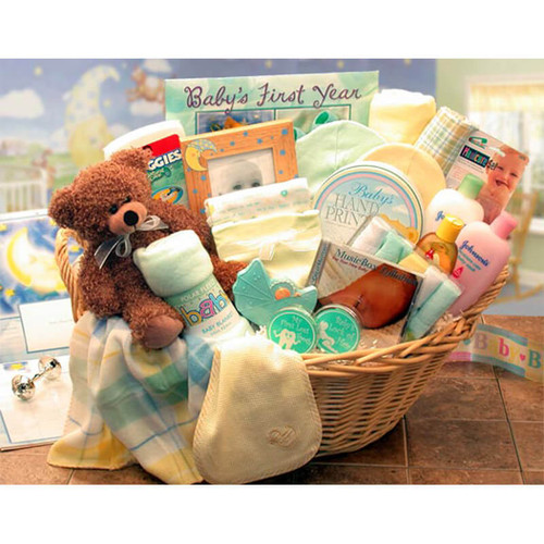 Welcome Home Baby Yellow/Teal Deluxe Gift Basket | Baby Gift Baskets