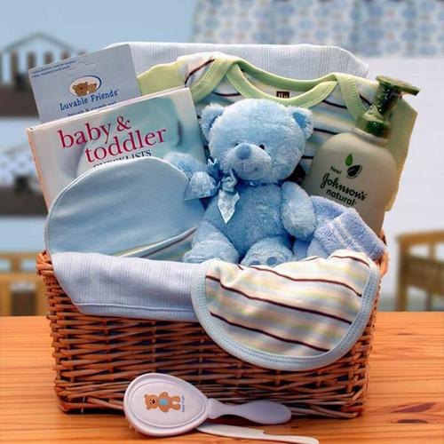 Baby Basics Newborn Boy Organic Gift Basket   Baby Gift Baskets