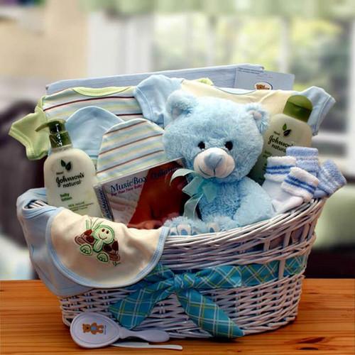 New Baby Boy Deluxe Organic Gift Basket   Baby Gift Baskets