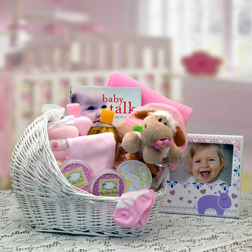 Baby Girl Bassinet Pink New Baby Basket   Baby Gift Baskets