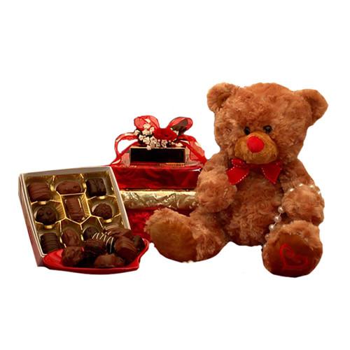 Hugs & Kisses Bear w- Chocolates   Valentine's Day Gift Basket