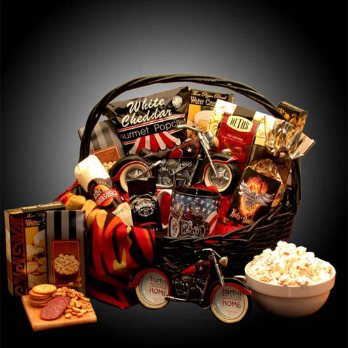 He's A Motorcycle Man Gift Basket   Gift Baskets For Men