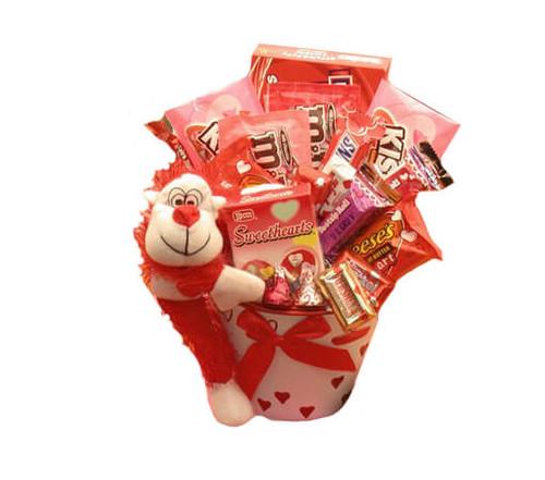 Monkey Love Valentines Gift Pail| Valentines Day Gift Basket