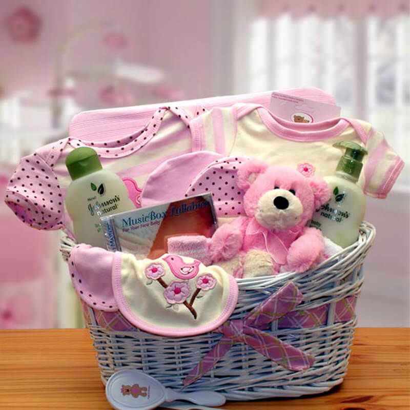 Deluxe Organic New Baby Gift Basket - Pink| Baby Gift Baskets