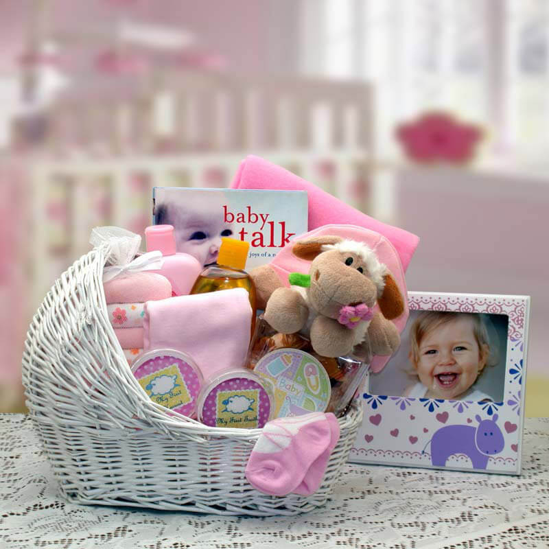 Welcome Baby Bassinet New Baby Basket-Pink| Baby Gift Baskets